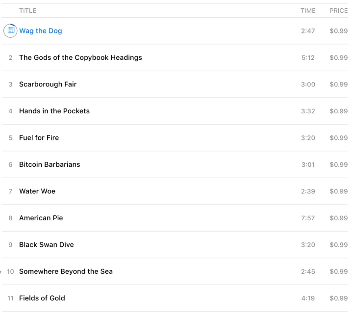 EDT - Preparing for the Fall - song list
